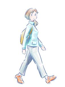 歩いている緑の服の女の子のイラスト素材 [FYI01821966]