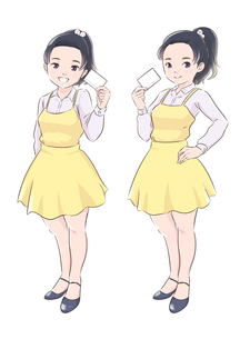 カードを持つ黄色い服の女の子のイラスト素材 [FYI01821987]