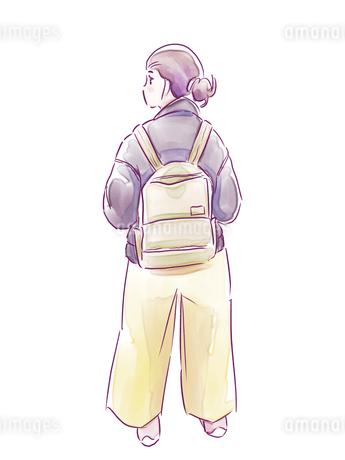 バッグを背負った女の子のイラスト素材 [FYI01822002]