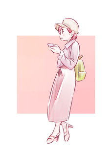寄りかかってスマホを見ているピンクの服の女の子のイラスト素材 [FYI01822017]