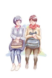 座って話をする二人の女性たちのイラスト素材 [FYI01822018]