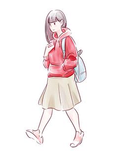 歩いている赤い服の女の子のイラスト素材 [FYI01822026]