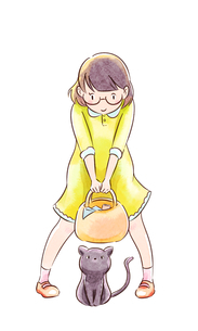 買い物へ行くメガネの女の子と黒猫のイラスト素材 [FYI01822028]