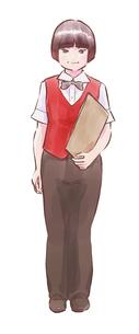 メニューを持った赤いベストのカフェ店員女性のイラスト素材 [FYI01822057]