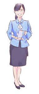 ポットを持った青い服のカフェ店員女性のイラスト素材 [FYI01822063]
