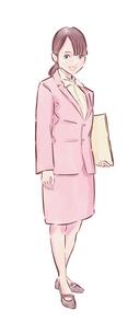 ピンクのジャケットのカフェ店員女性のイラスト素材 [FYI01822071]