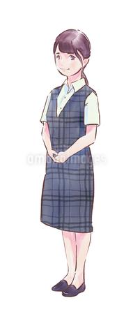 青いチェックの服のカフェ店員女性のイラスト素材 [FYI01822083]