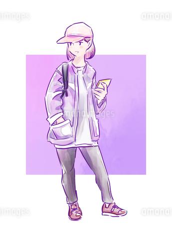 キャップをかぶった紫のジャケットの女の子のイラスト素材 [FYI01822088]