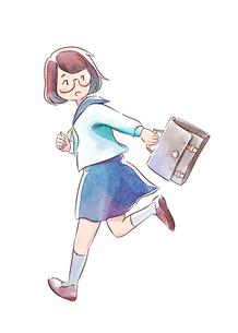 学校へ向かうメガネの女子高生のイラスト素材 [FYI01822094]
