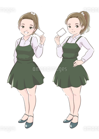 カードを持つ緑色の服の女の子のイラスト素材 [FYI01822095]
