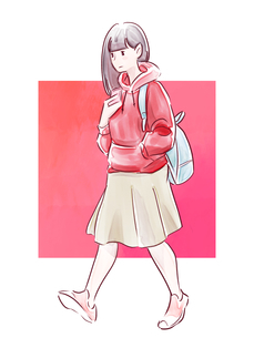 歩いている赤い服の女の子のイラスト素材 [FYI01822103]