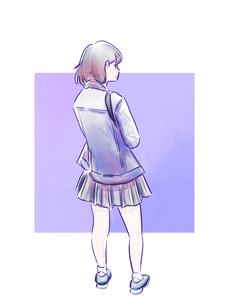 制服の女の子の後ろ姿のイラスト素材 [FYI01822126]