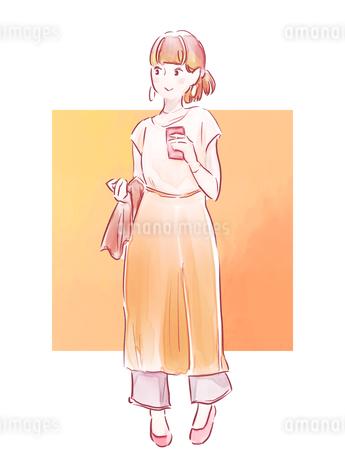 オレンジのパンツの女の子のイラスト素材 [FYI01822157]
