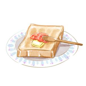 水彩タッチのジャムバタートーストのイラスト素材 [FYI01822169]