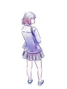 制服の女の子の後ろ姿のイラスト素材 [FYI01822175]