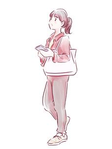 髪を結んだ赤い服の女の子のイラスト素材 [FYI01822176]