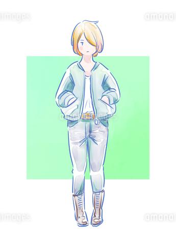ジーンズをはいた金髪の女の子のイラスト素材 [FYI01822245]