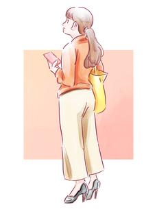 スマホを持った髪を結んだ女性のイラスト素材 [FYI01822279]