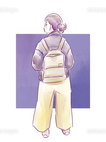 バッグを背負った女の子のイラスト素材 [FYI01822294]