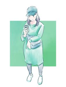 帽子をかぶった緑の服の女の子のイラスト素材 [FYI01822303]
