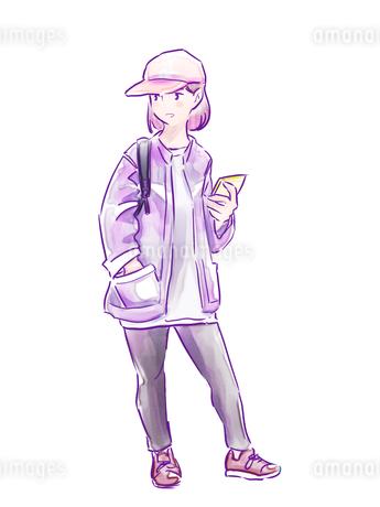 キャップをかぶった紫のジャケットの女の子のイラスト素材 [FYI01822314]