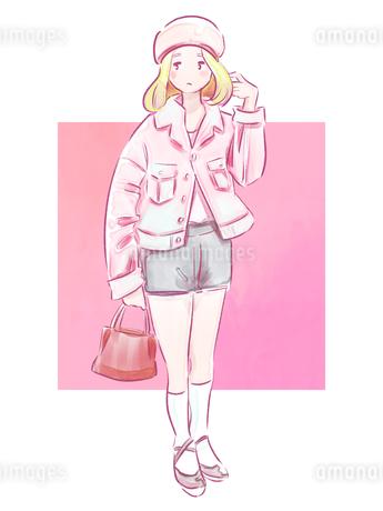 バッグを持ったピンクの服の女の子のイラスト素材 [FYI01822336]
