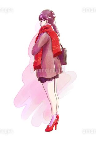 赤いマフラーと赤い靴の女性のイラスト素材 [FYI01822343]