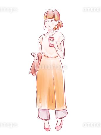 オレンジのパンツの女の子のイラスト素材 [FYI01822359]