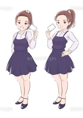 カードを持つ青い服の女の子のイラスト素材 [FYI01822424]