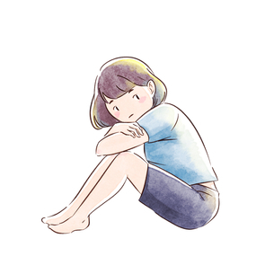 体育座りをする女の子のイラスト素材 [FYI01822450]
