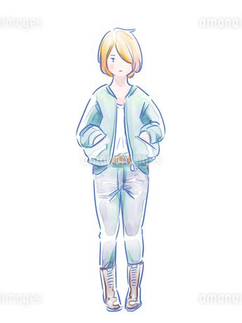 ジーンズをはいた金髪の女の子のイラスト素材 [FYI01822552]