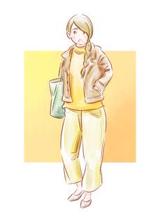 黄色い服の女の子のイラスト素材 [FYI01822627]