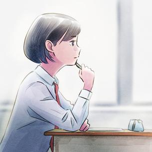 教室で勉強をする女子高生のイラスト素材 [FYI01822649]