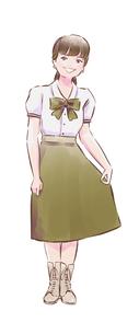 緑のスカートのカフェ店員女性のイラスト素材 [FYI01822664]