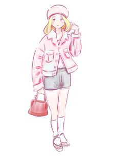 バッグを持ったピンクの服の女の子のイラスト素材 [FYI01822765]