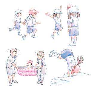 運動会の子どもたち(かけっこ・でんぐり返し・かご運び)のイラスト素材 [FYI01822801]