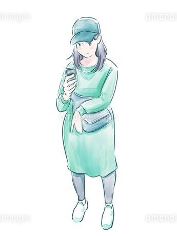 帽子をかぶった緑の服の女の子のイラスト素材 [FYI01822846]
