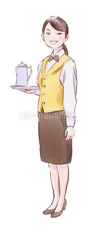 ポットを持った黄色い服のカフェ店員女性のイラスト素材 [FYI01822891]
