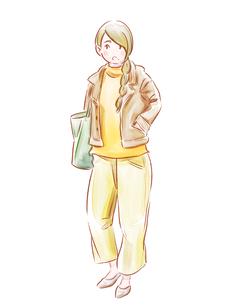 黄色い服の女の子のイラスト素材 [FYI01822899]