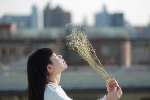 屋上で白いドライフラワーを空に掲げる女性の写真素材 [FYI01823036]