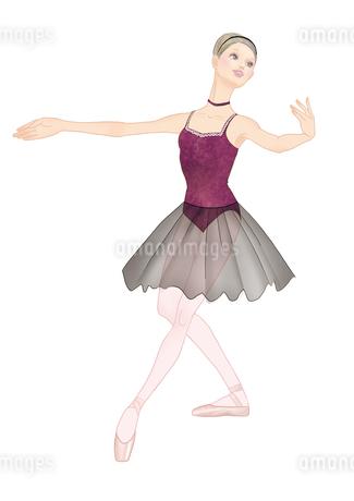 葡萄色のレオタードでバレエのレッスンをする女性のイラスト素材 [FYI01823093]
