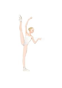 バレエレッスンをする白いレオタードの少女のイラスト素材 [FYI01823118]