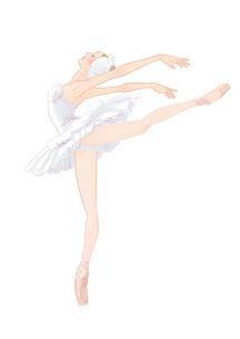 バレエ、白鳥の湖を踊る女性のイラスト素材 [FYI01823130]