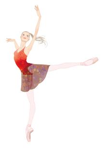 赤いレオタードでバレエのアラベスクをする女性のイラスト素材 [FYI01823131]