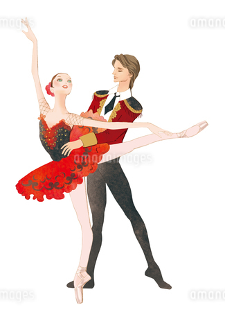 バレエを踊る男女のイラスト素材 [FYI01823133]