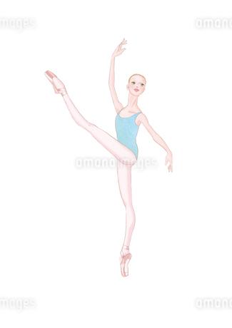 水色のレオタードを着てレッスンをする少女のイラスト素材 [FYI01823134]