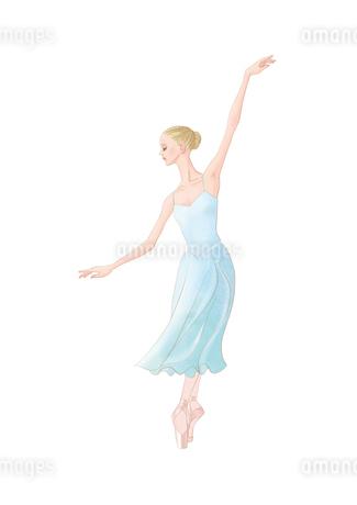 水色の衣装でバレエを踊る女性のイラスト素材 [FYI01823145]