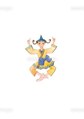 バレエ「くるみ割り人形」お茶の精を踊る女性のイラスト素材 [FYI01823154]
