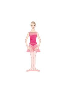 ピンクのレオタードを着てバレエのレッスンをする女性のイラスト素材 [FYI01823156]