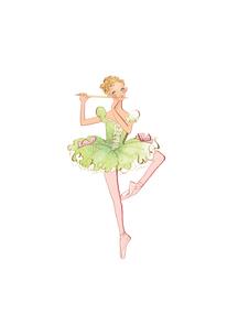 バレエ「くるみ割り人形」葦笛を踊る女性のイラスト素材 [FYI01823163]